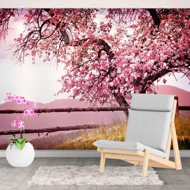 Foto murali vinili pareti ciliegia giapponese