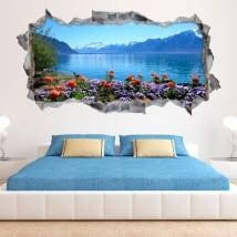Vinili muri fiori nel lago di ginevra svizzera 3d