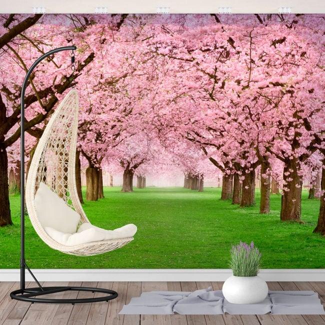 Murales in vinile alberi di ciliegio