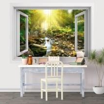 Vinili tardo pomeriggio fiume nella foresta finestra 3d