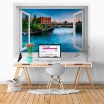 Vinili muri washington fiume spokane finestra 3d