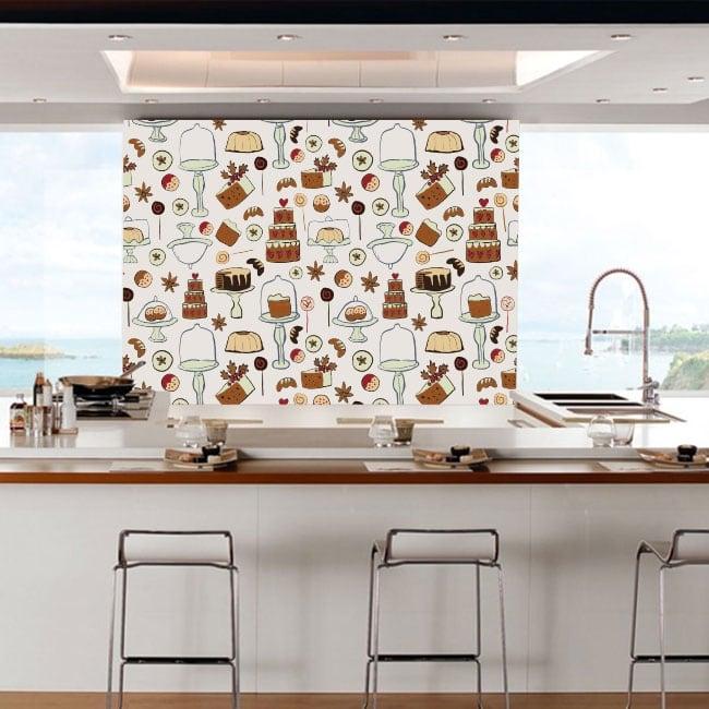 Murales in vinile pasticceria per negozi e cucine