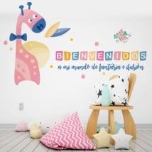 Vinile per bambini giraffe e uccelli benvenuti nel mio mondo