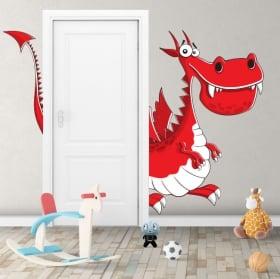 Vinile decorativo per bambini in dinosauro per porte