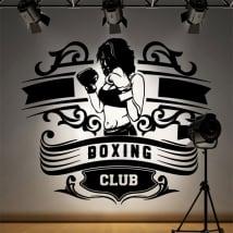 Vinile e adesivi club di boxe silhouette di donna