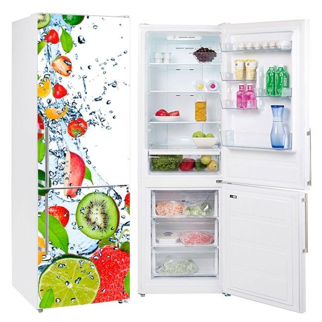 Vinile decorativo frigoriferi frutta spruzzi d'acqua