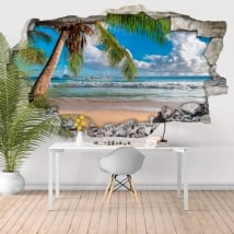Vinili muri palma spiaggia 3d