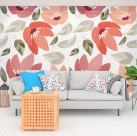 Murales in vinile con fiori naturali