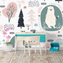 Murales in vinile alberi fiori e orsi
