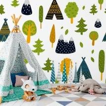 Murales in vinile alberi e tende dei tipi