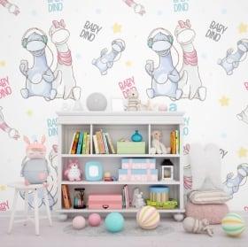 Murales bambini e giovani dinosauri