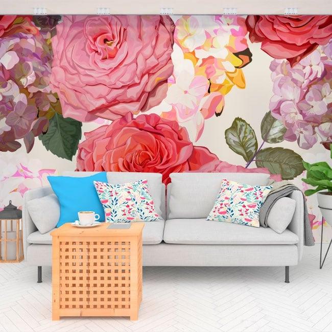 Murales in vinile con fiori di ortensia