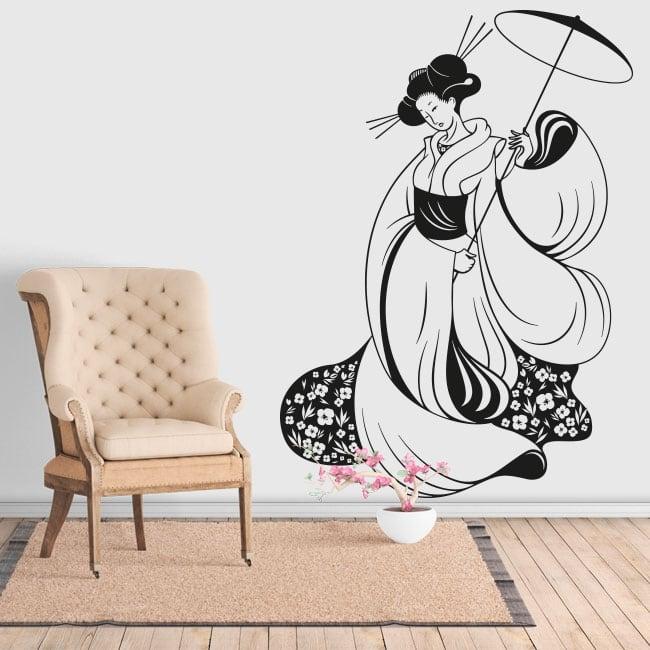 Vinile decorativo silhouette donna giappone