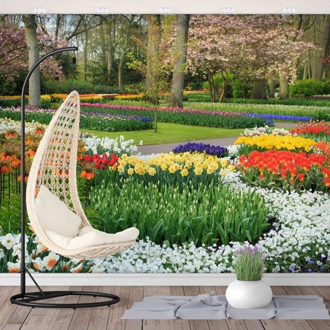 Murales in vinile giardino con fiori
