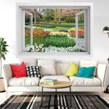 Vinile decorativo finestra fiori nel giardino 3d
