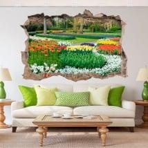 Vinili 3d giardino con fiori