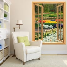 Vinili finestre giardino di fiori e tulipani 3d
