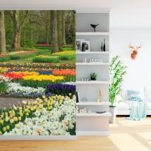 Murales in vinile giardino con fiori e tulipani