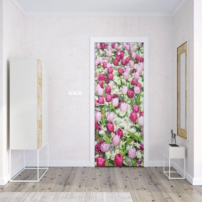 Vinile per porte fiori di tulipani