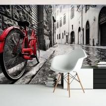 Murales in vinile città e bicicletta retrò
