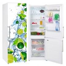 Vinili frigoriferi limoni spruzzi d'acqua