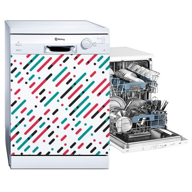Vinili per lavastoviglie linee e cerchi di colori