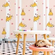 Murales in vinile cani fiori e farfalle