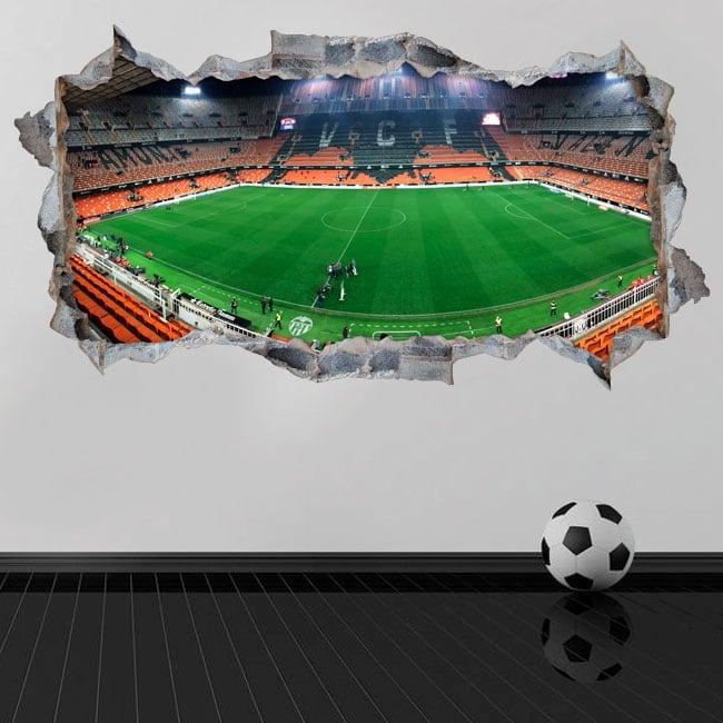 Adesivi murali 3d mestalla panoramica valencia club di calcio