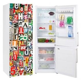 Vinili frigoriferi collage di lettere