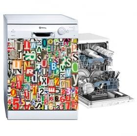 Vinili lavastoviglie collage di lettere