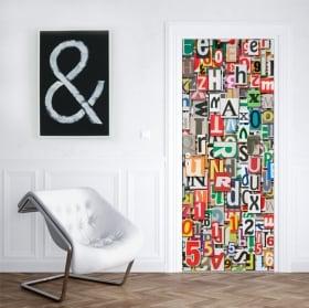 Vinile per porte e armadi collage di lettere