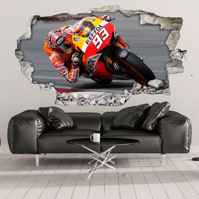 Sticker murale 3d motogp marc márquez honda