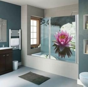 Vinile decorativo schermi del bagno fiore di loto