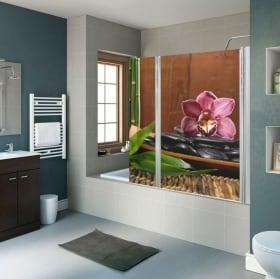 Vinili per schermi bagno decorazione zen