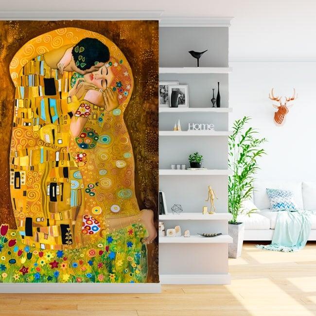 Murales gustav klimt opera d'arte il bacio