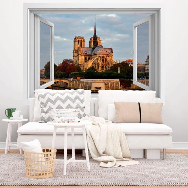 Vinili 3d finestra cattedrale di notre dame paris france