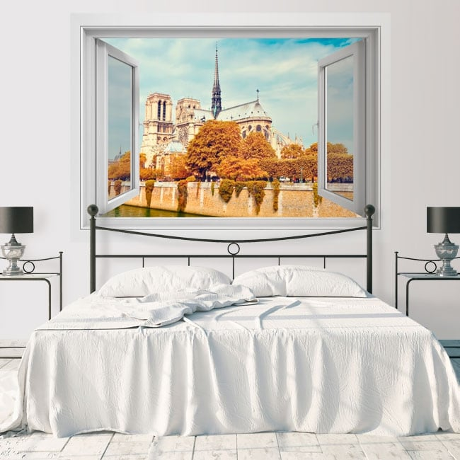 Vinile decorativo cattedrale di notre dame paris francia 3d