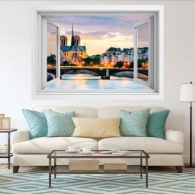 Vinile e adesivi finestra cattedrale notre dame france 3d