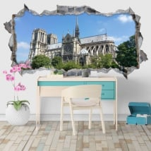 Vinile decorativo cattedrale notre dame parigi francia 3d