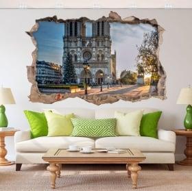 Vinile adesivo 3d cattedrale notre dame parigi francia