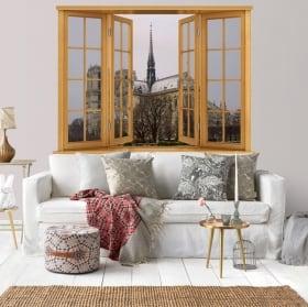 Finestre 3d cattedrale di notre dame paris france