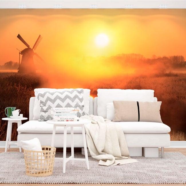 Murales in vinile tramonto mulino olanda