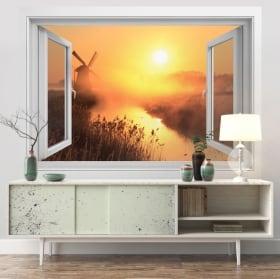 Vinili muri finestra 3d tramonto mulino olanda