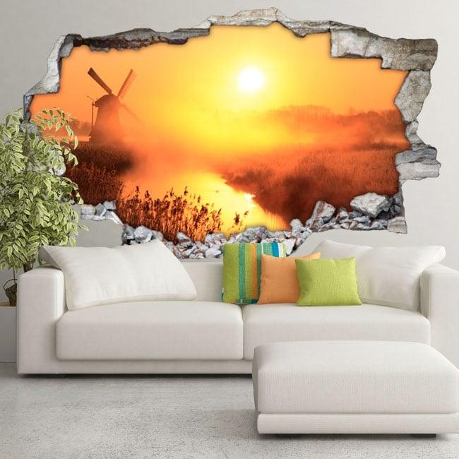 Vinile 3d tramonto mulino olanda