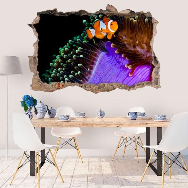 Vinili muri pesce pagliaccio e anemone 3d
