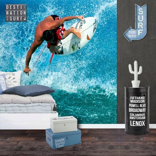 Murales di vinile surfista sull'onda