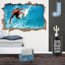 Adesivi decorativi 3d surfista sull'onda