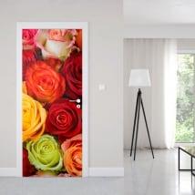 Vinile per porte rose colorate