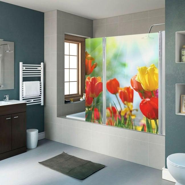 Vinili per schermi bagno fiori tulipani