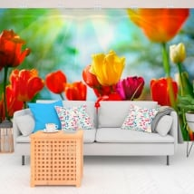 Murales in vinile fiori di tulipani